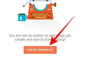 blogger blog banaye, create new blog pe click kare