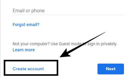 create account pe click kare