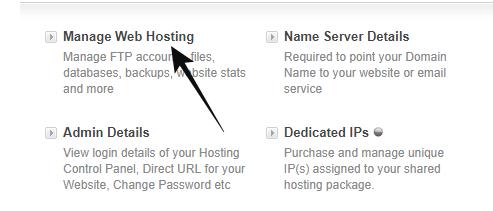 manage hosting pe click kare