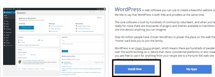 wordpress install now pe click kare