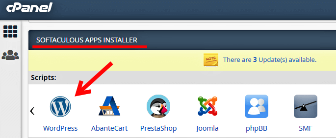 select wordpress to install