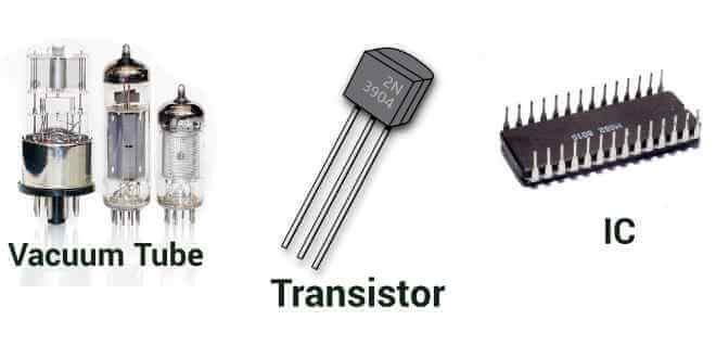 vacuum tube transistor and ic in computer