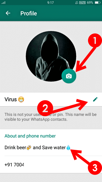 whatsapp profile set