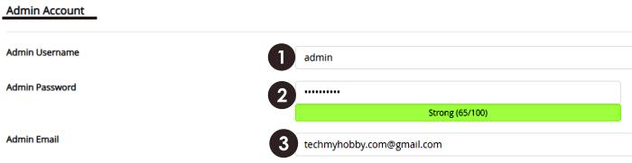 wordpress installation admin account setting